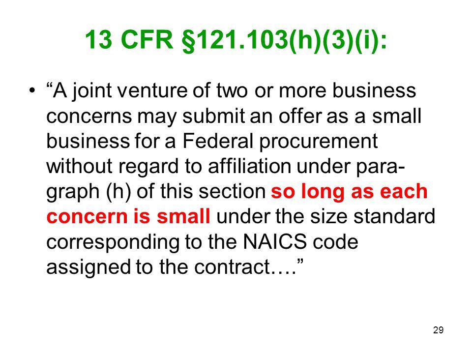 13 CFR §121.103(h)(3)(i):