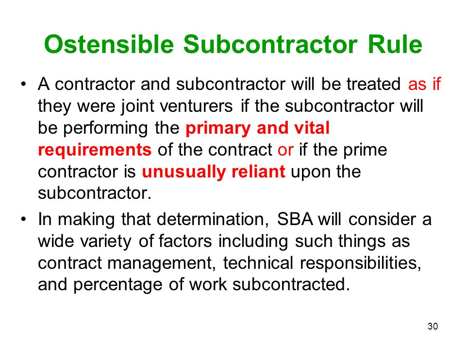 Ostensible Subcontractor Rule