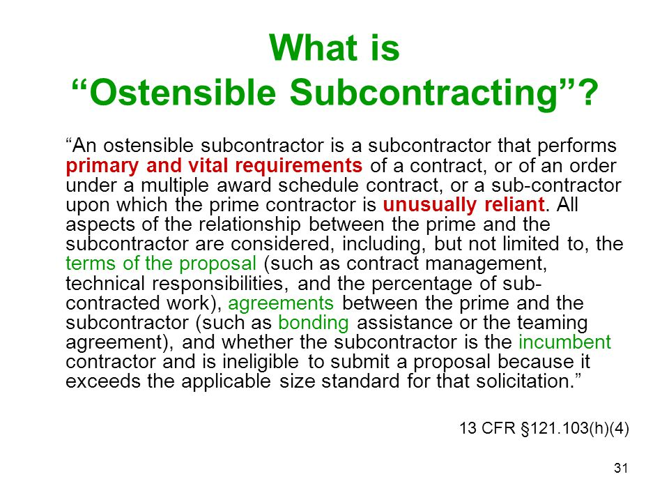 What is Ostensible Subcontracting