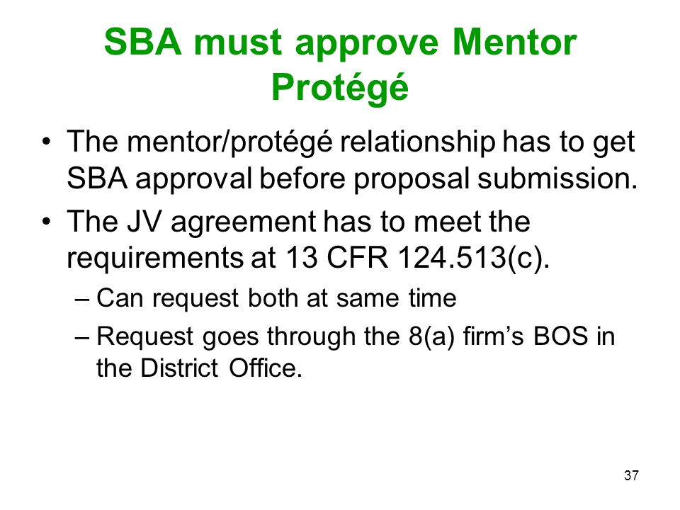 SBA must approve Mentor Protégé