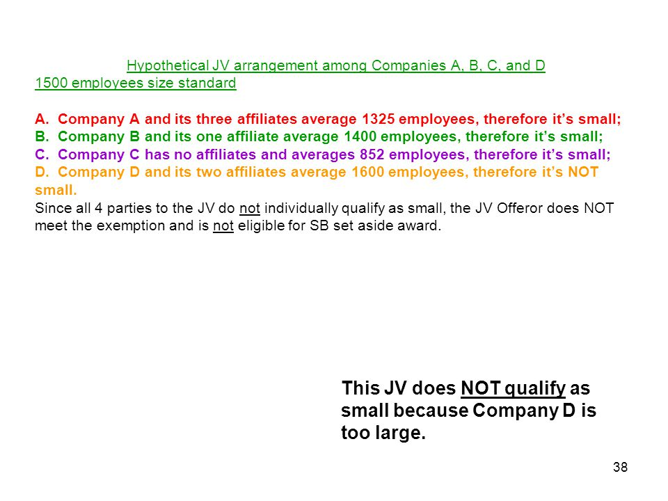 This JV does NOT qualify as small because Company D is too large.