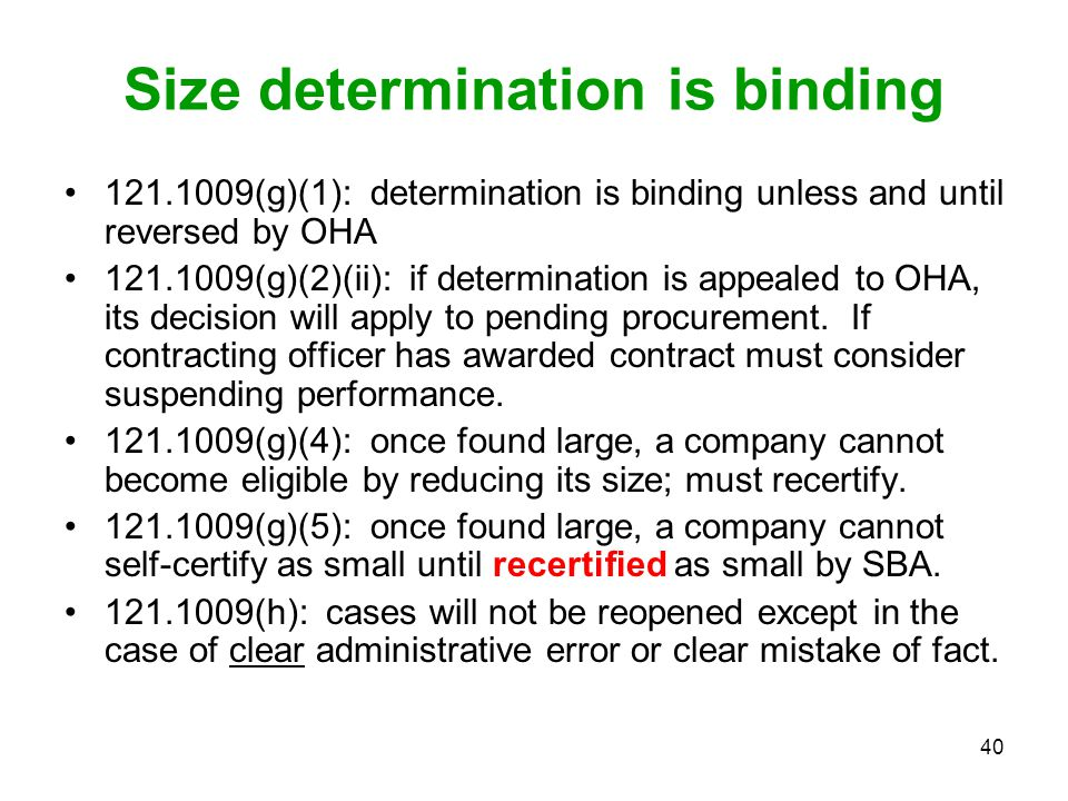 Size determination is binding