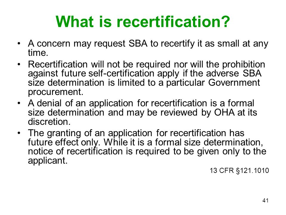 What is recertification