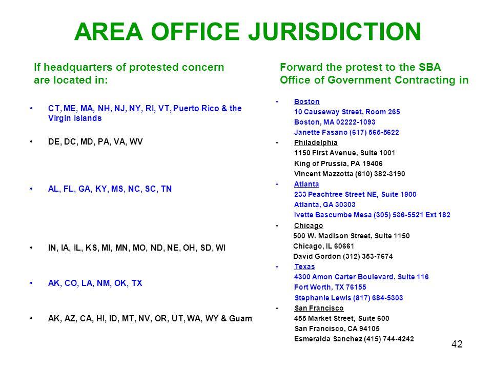 AREA OFFICE JURISDICTION