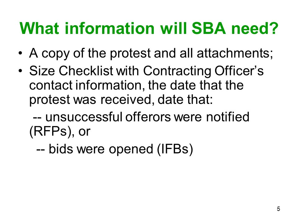 What information will SBA need