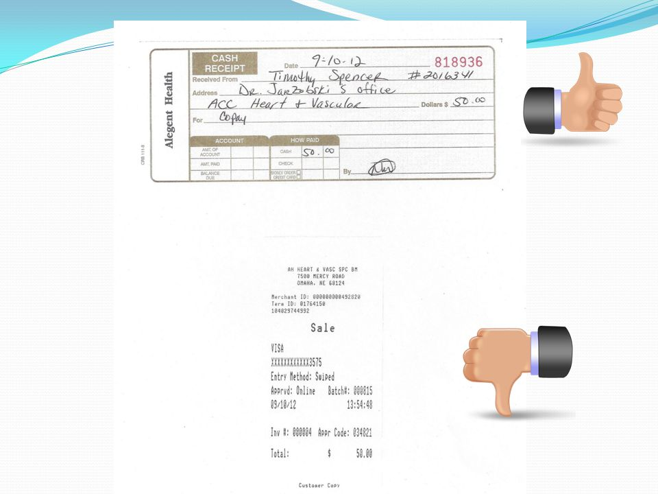 Here is an example of an acceptable itemized receipt for a physician office visit co-pay.