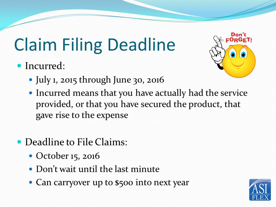 Claim Filing Deadline Incurred: Deadline to File Claims:
