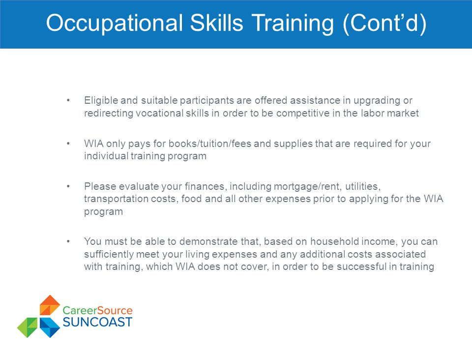 Occupational Skills Training (Cont'd)
