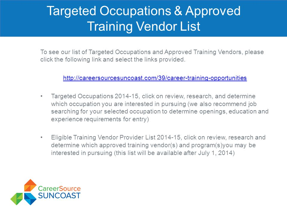 Targeted Occupations & Approved Training Vendor List