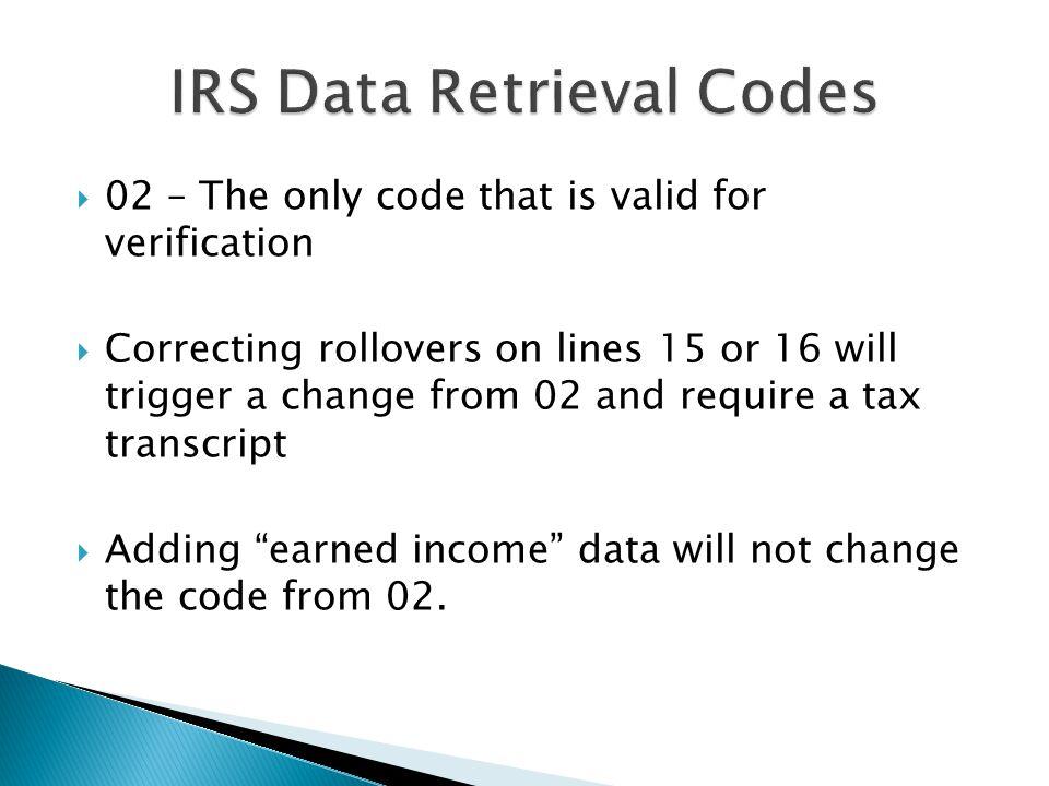 IRS Data Retrieval Codes