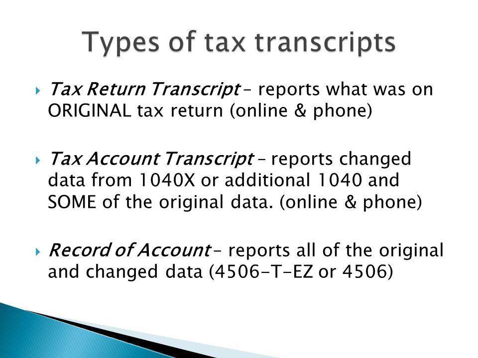 Types of tax transcripts