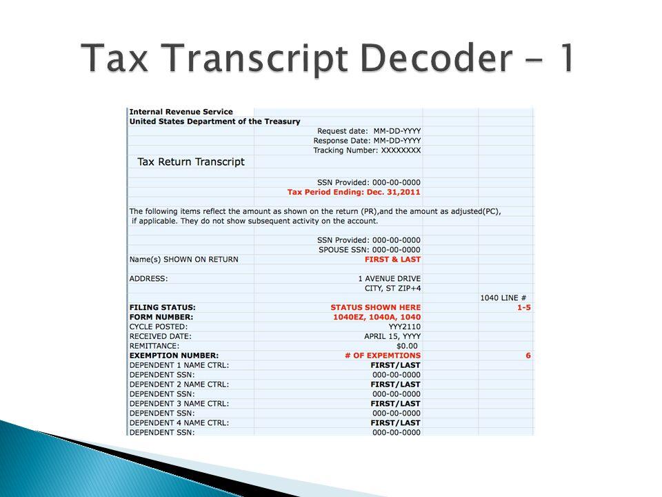 Tax Transcript Decoder - 1