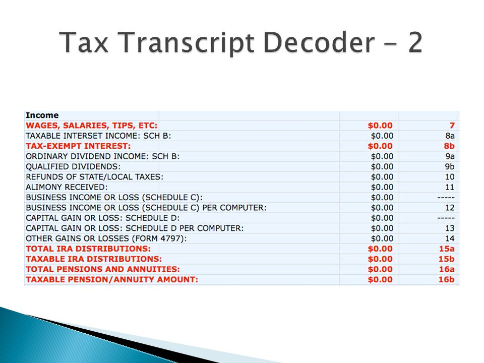 Tax Transcript Decoder - 2