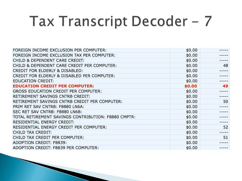 Tax Transcript Decoder - 7