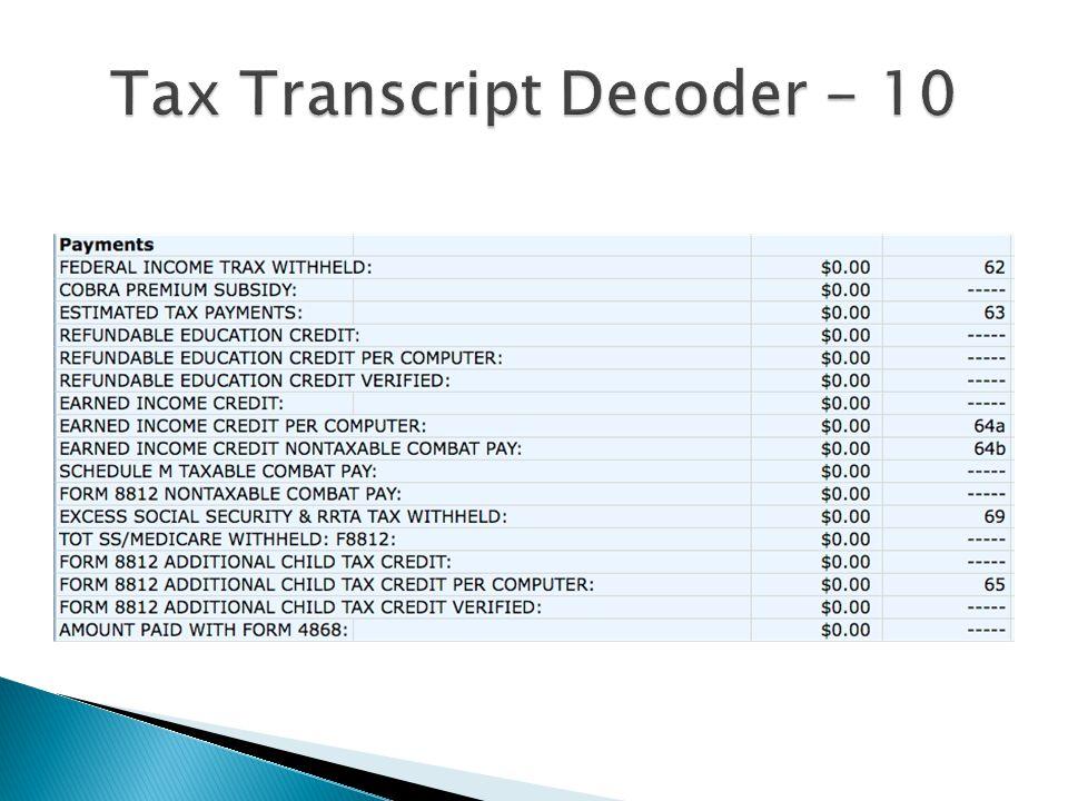 Tax Transcript Decoder - 10