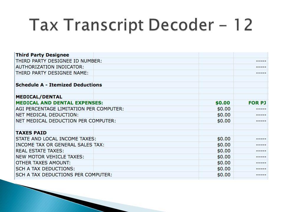 Tax Transcript Decoder - 12