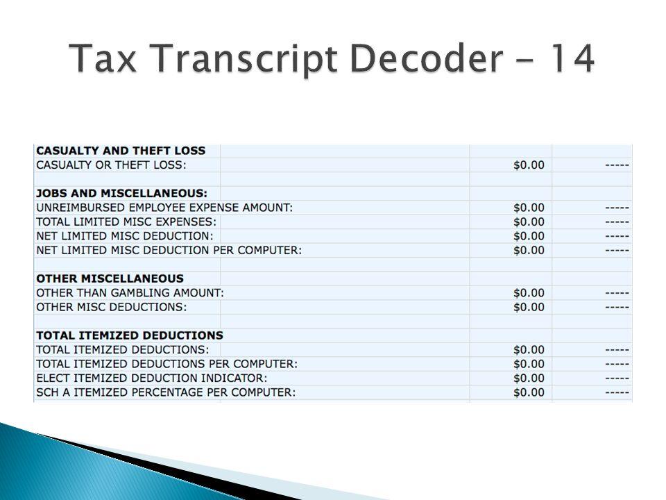 Tax Transcript Decoder - 14