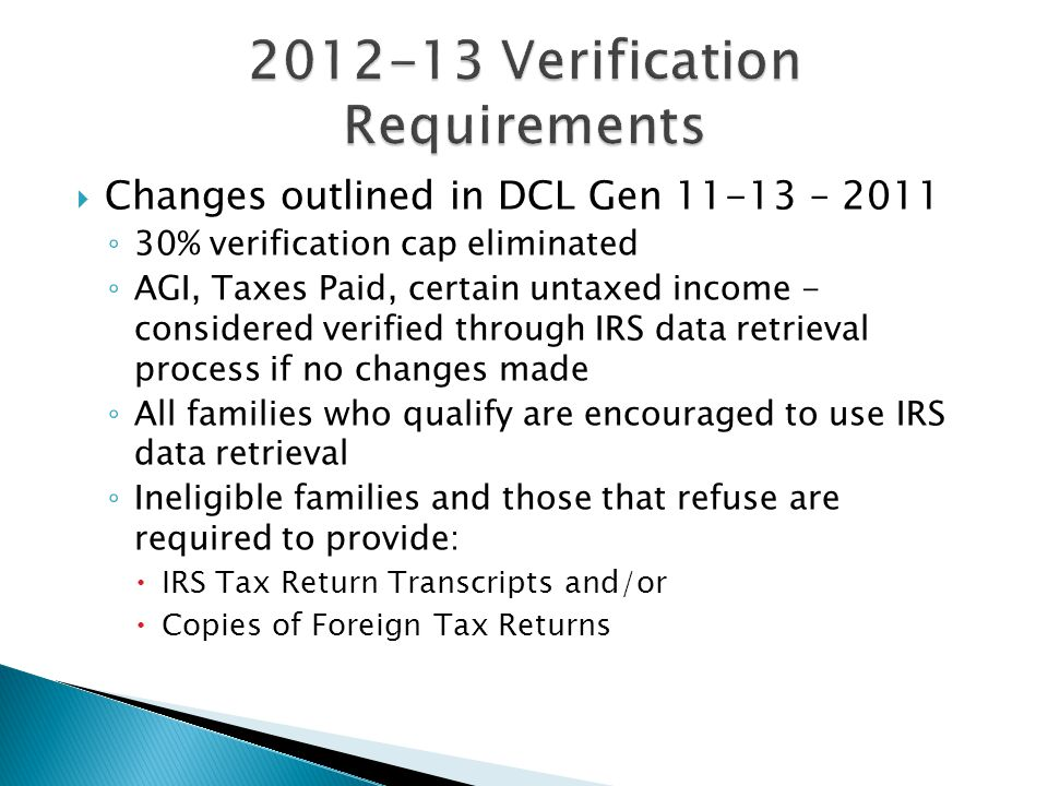 2012-13 Verification Requirements