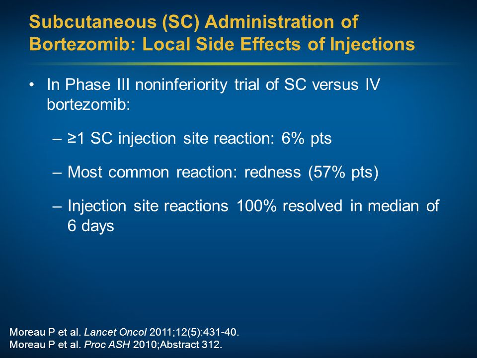 Subcutaneous (SC) Administration of Bortezomib: Local Side Effects of Injections