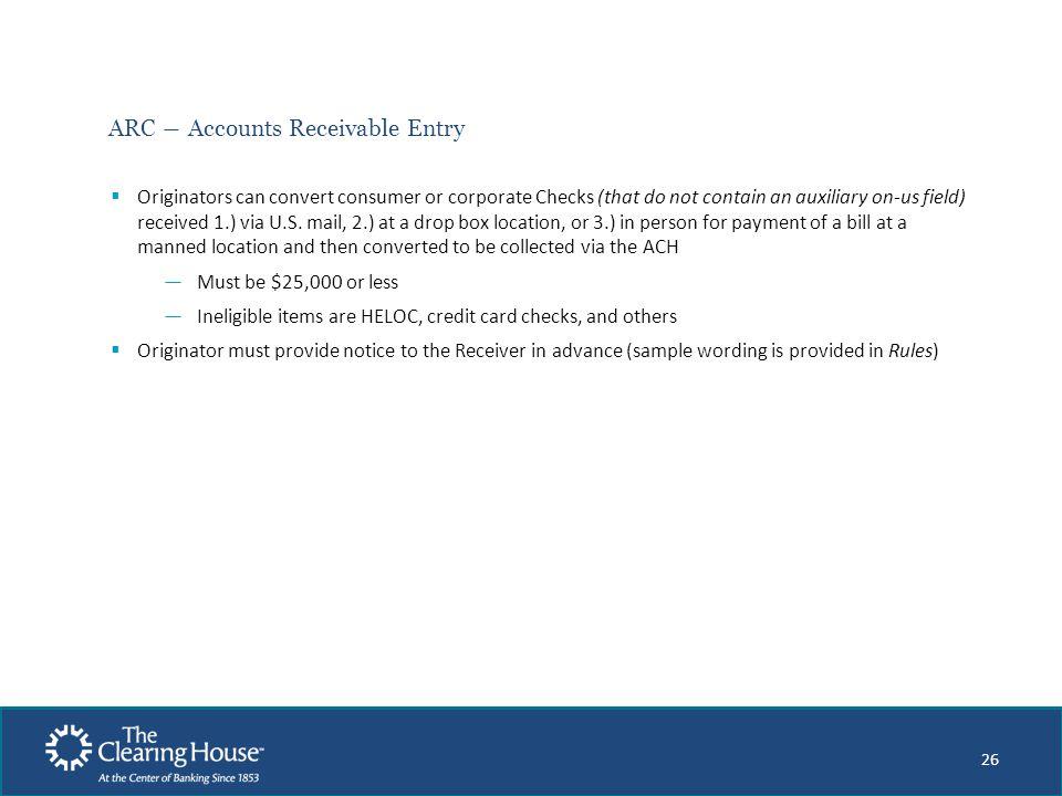 ARC ― Accounts Receivable Entry