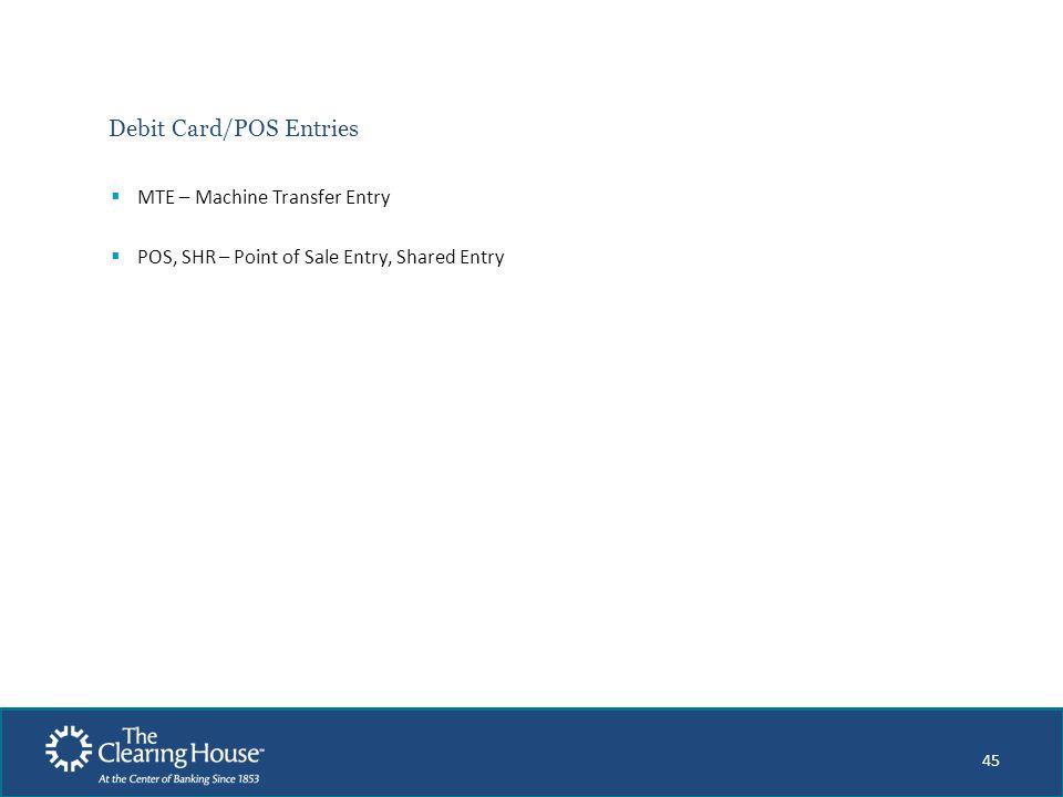 Debit Card/POS Entries
