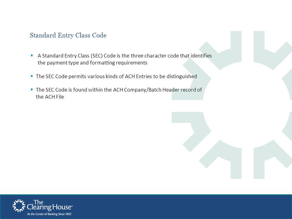 Standard Entry Class Code