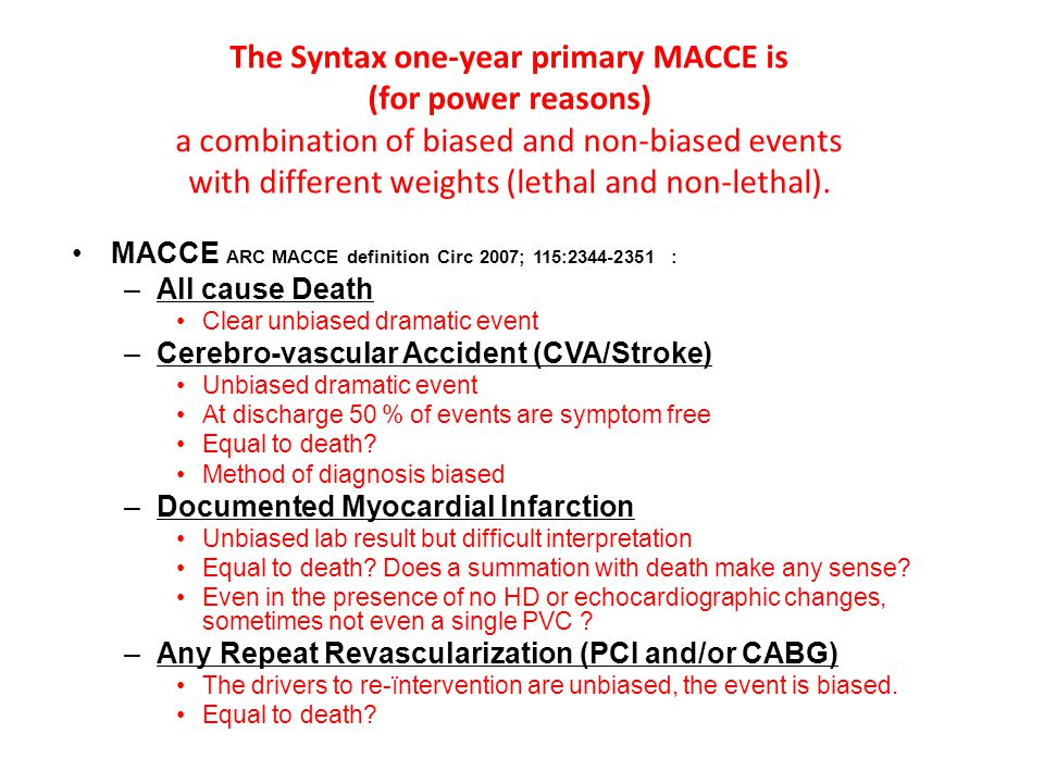 The Syntax one-year primary MACCE is