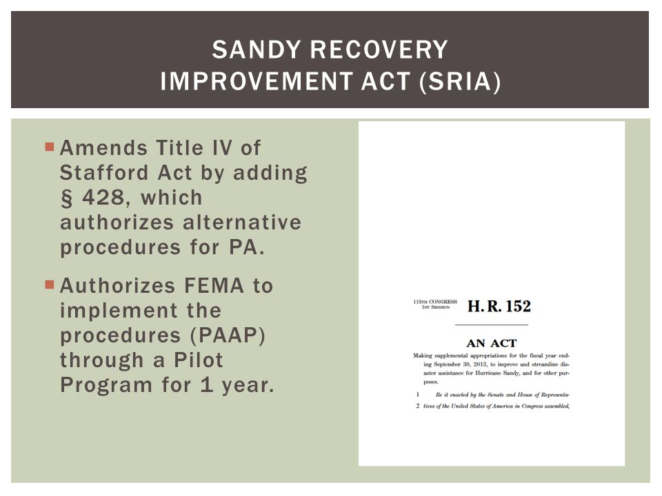 Sandy Recovery Improvement Act (SRIA)