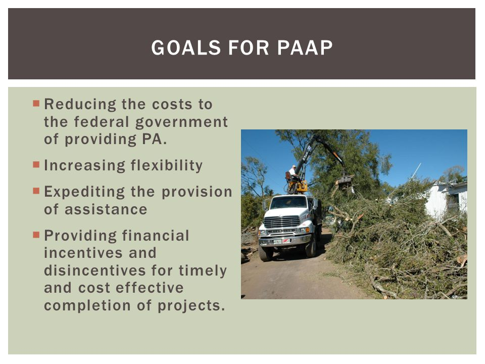 Goals for PAAP Reducing the costs to the federal government of providing PA. Increasing flexibility.