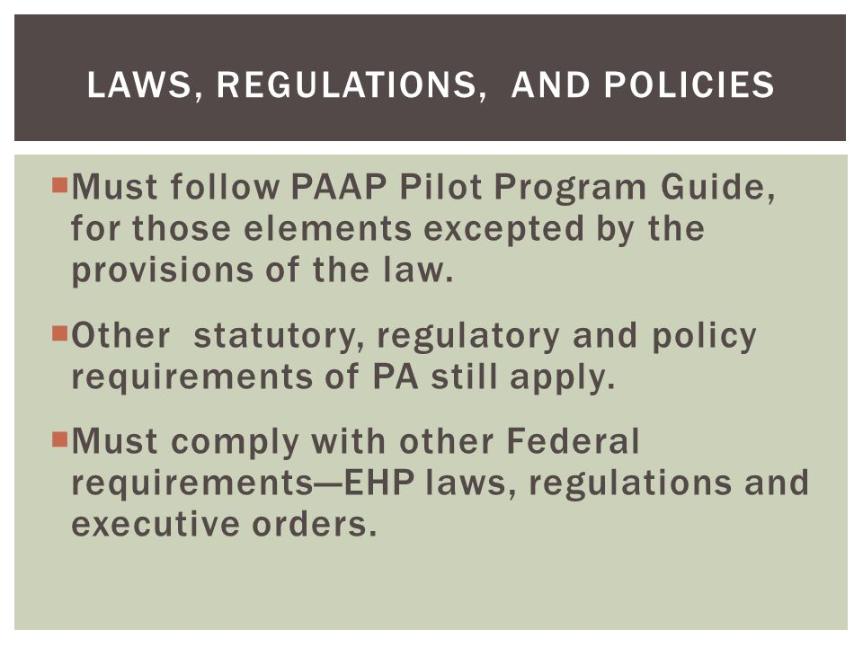 Laws, Regulations, and Policies
