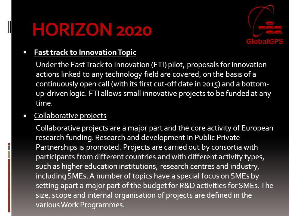 HORIZON 2020 Fast track to Innovation Topic