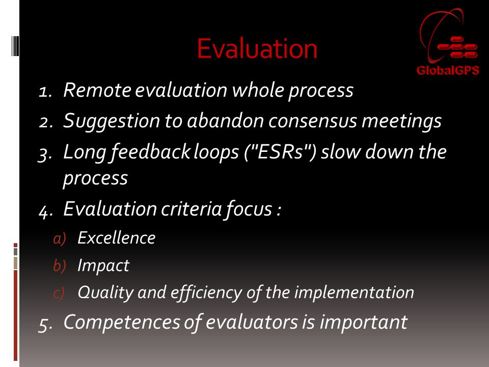 Evaluation Remote evaluation whole process