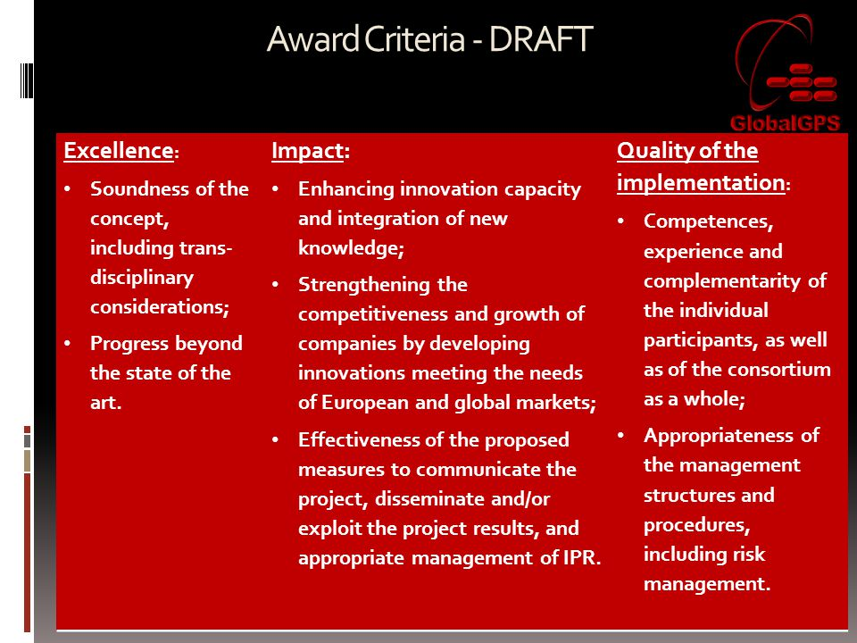 Award Criteria - DRAFT Excellence: Impact: