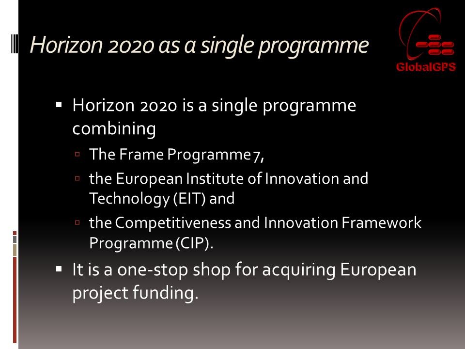 Horizon 2020 as a single programme