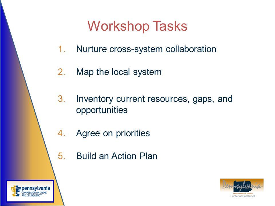 Workshop Tasks Nurture cross-system collaboration Map the local system