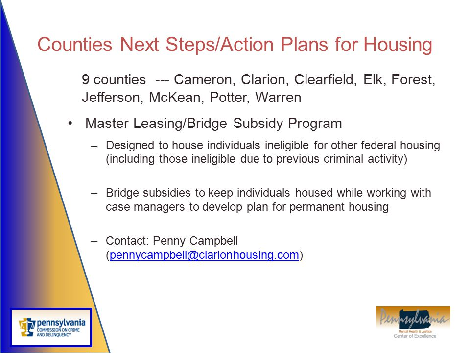 Counties Next Steps/Action Plans for Housing