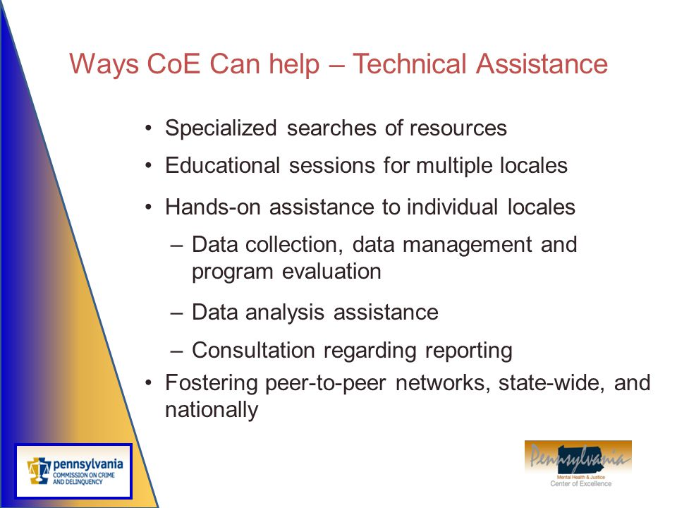 Ways CoE Can help – Technical Assistance