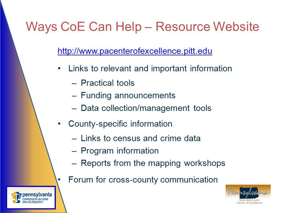 Ways CoE Can Help – Resource Website