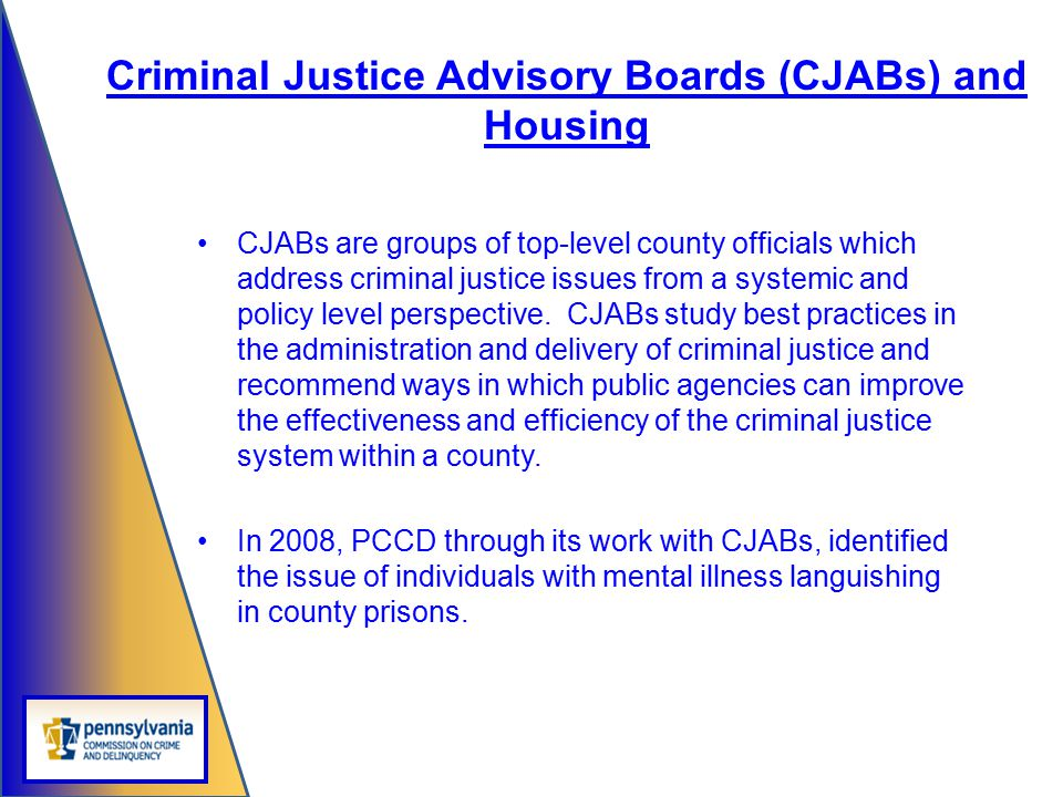 Criminal Justice Advisory Boards (CJABs) and Housing