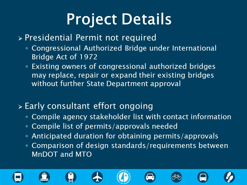 Project Details Presidential Permit not required
