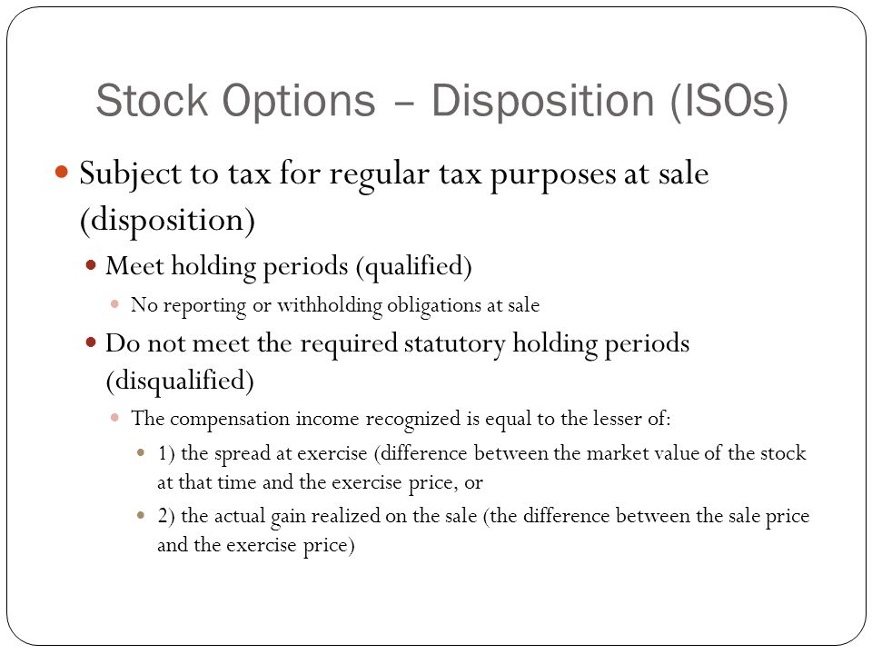 Holding period non qualified stock options