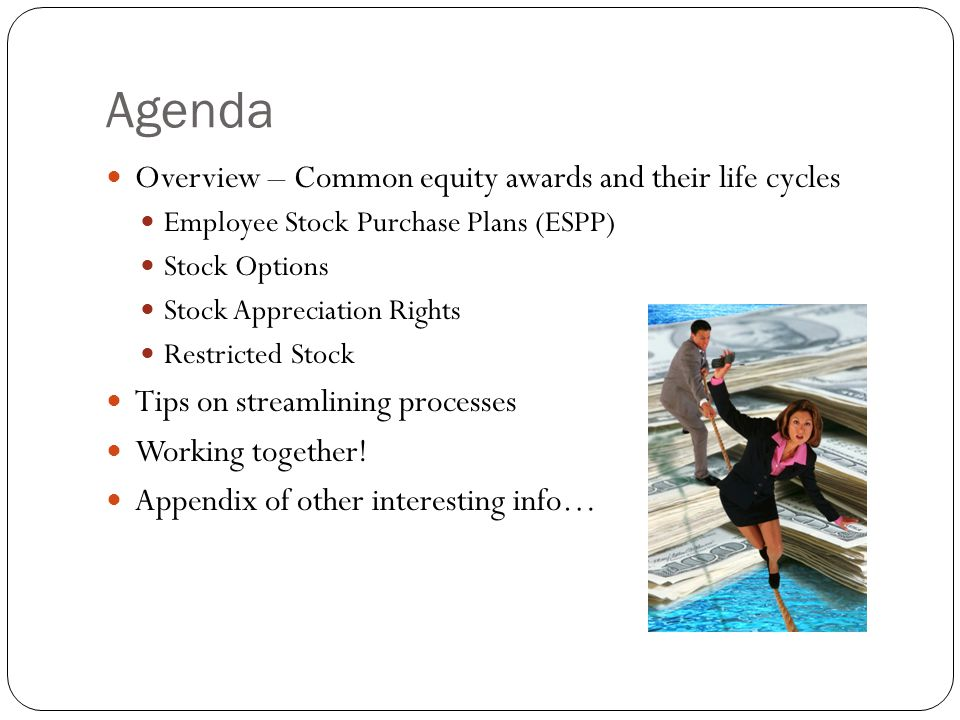 Agenda Overview – Common equity awards and their life cycles