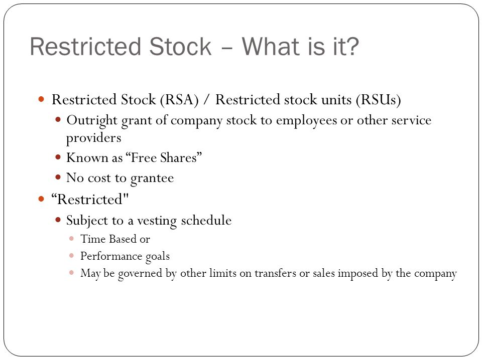 Restricted shares stock options