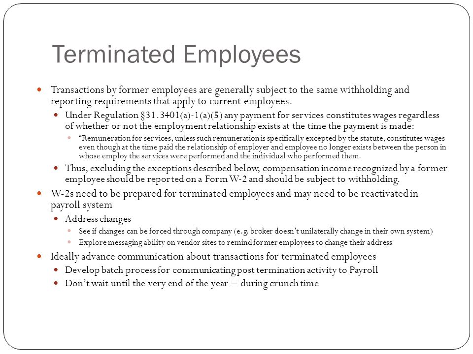 Terminated Employees