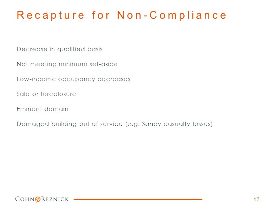 Recapture for Non-Compliance