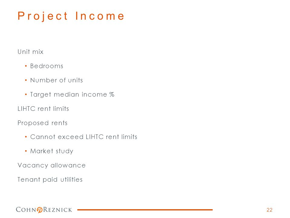 Project Income Unit mix Bedrooms Number of units