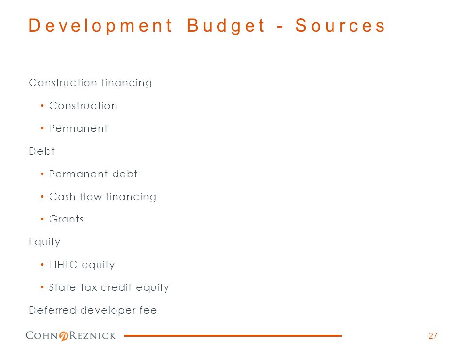 Development Budget - Sources