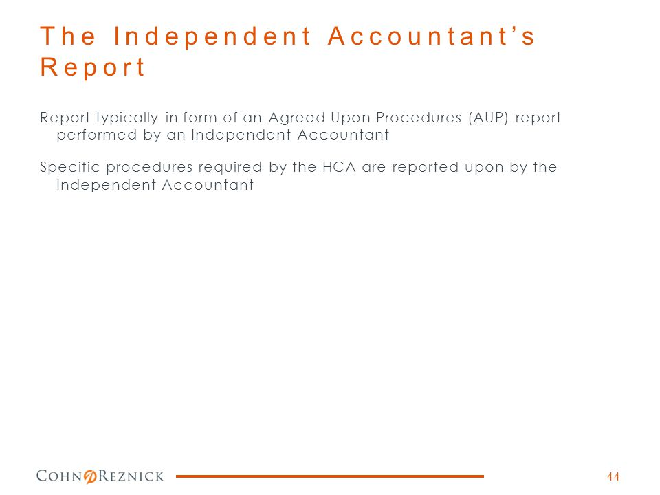 The Independent Accountant's Report