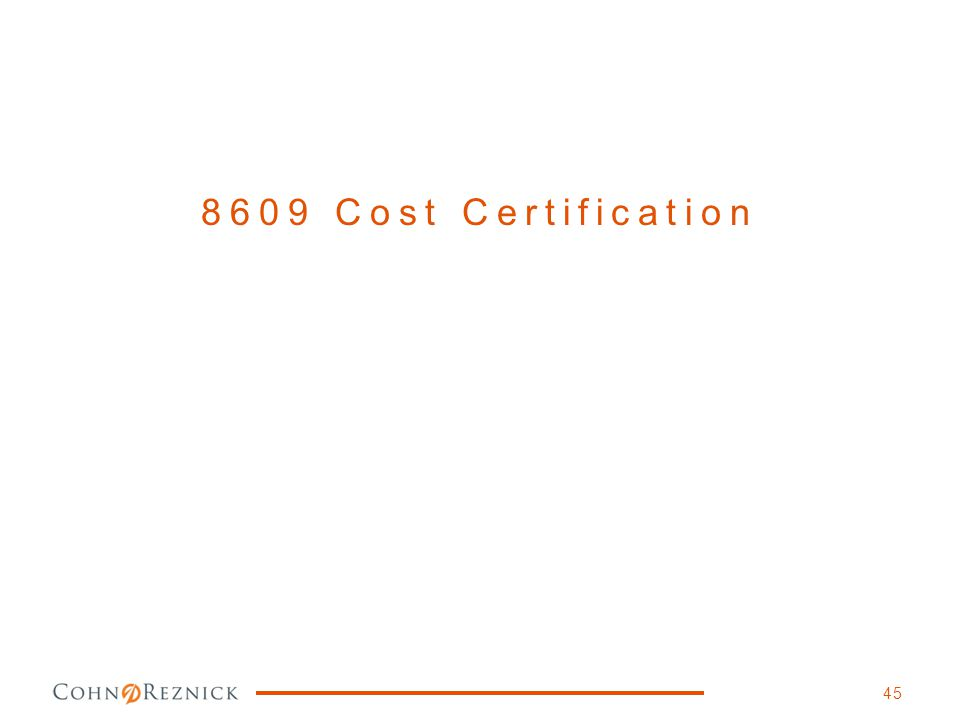8609 Cost Certification