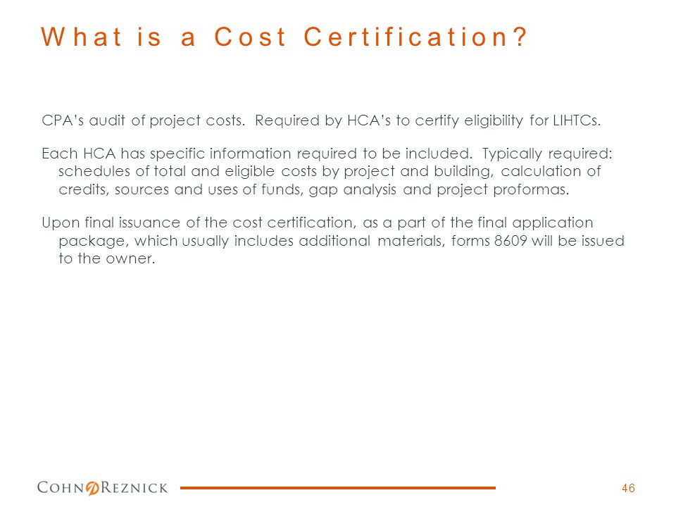 What is a Cost Certification